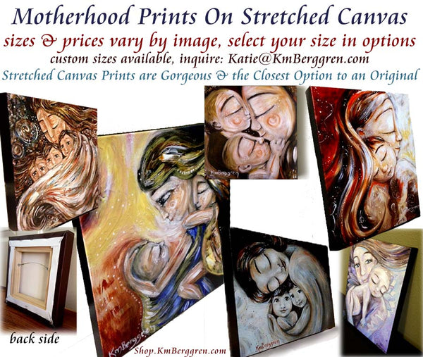 motherhood art on stretched canvas, mother daughter gifts