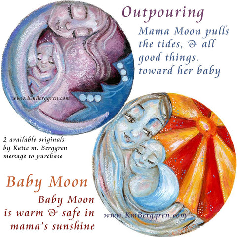 original round circle paintings on paper by Katie m. Berggren, new paintings, mother child artwork in paint on paper