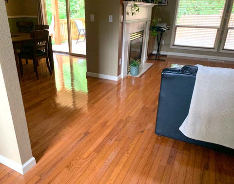 simplified and decluttered home with wood floors