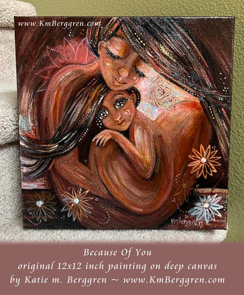 african american mother and child inner child artwork by KmBerggren
