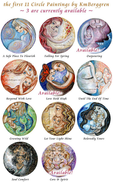 round artwork, paintings of women and mothers in circles, mom baby art prints