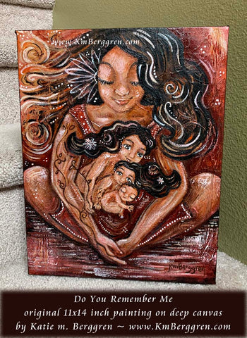 Woman with dark skin and three children in her lap, inner child mother child artwork by KmBerggren