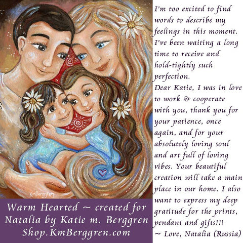 customized painting of mother and children with father, paintings for mom