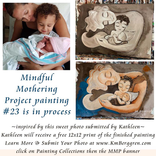 mindful mothering project Katie m. Berggren painting in process