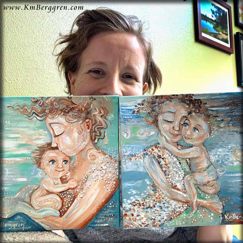 mother and child beach colored paintings by Katie m. Berggren