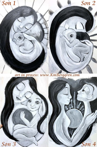 Mom and son, boy and mother artwork by Katie m. Berggren, growing boy, growth stages of son little boy to young man