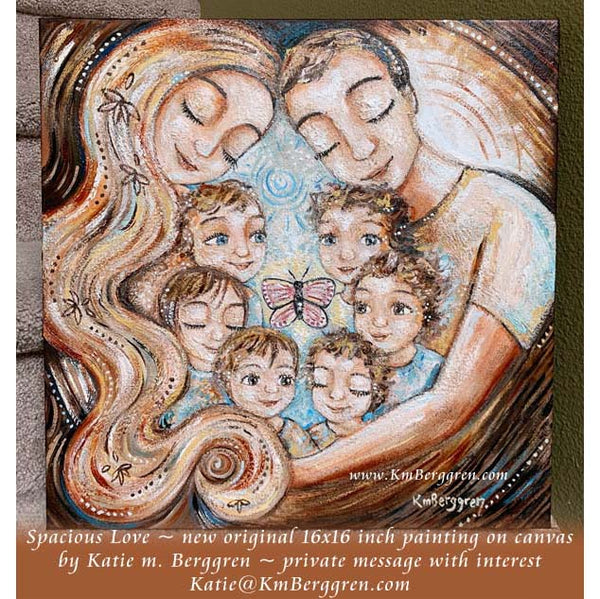 mom dad and six kids painting by Katie m. Berggren