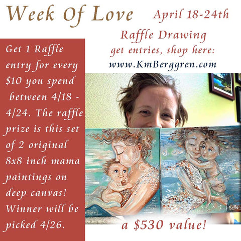 raffle prize art paintings by kmberggren, free gifts for mother's day