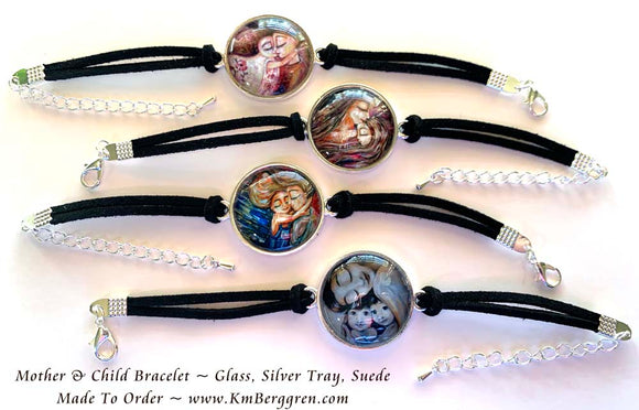 Glass Art Bracelet - Dainty Art Charm with Suede Bracelet