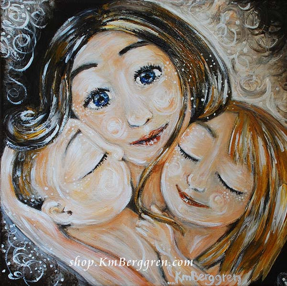 paintings for mom of mom and kids artwork, pictures of mom and kids, personalized best friend gift, best mom friend gift keepsake