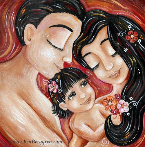red art print of Asian mother and father, dad art to celebrate Father's Day, wall art for mother and father. Couple art,  mom dad and little girl with flowers