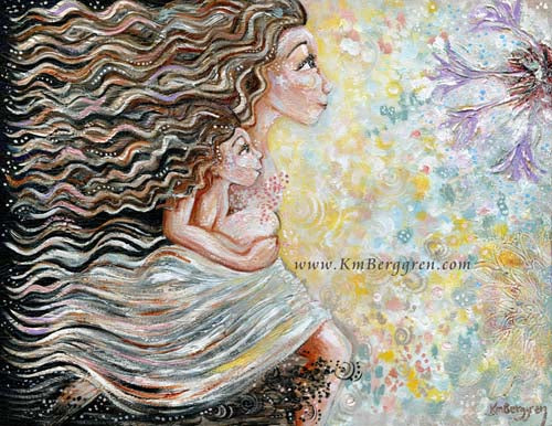 Be Free With Me - Running Mother with Child Art Print