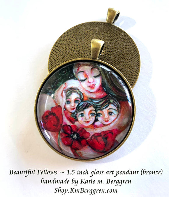 mother and three kids with poppies glass art pendant necklace mothers gift 1.5 inches across handmade by the artist