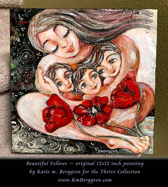 original 12x12 inch painting on panel of mother with three children and big red poppy flowers by KmBerggren