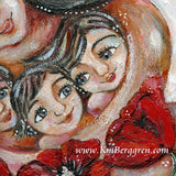 detail of original 12x12 inch painting on panel of mother with three children and big red poppy flowers by KmBerggren
