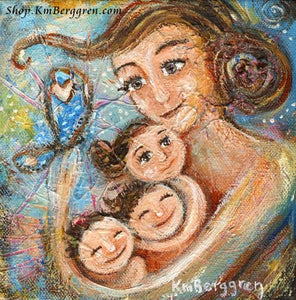 Mother with three children and butterfly blue art print