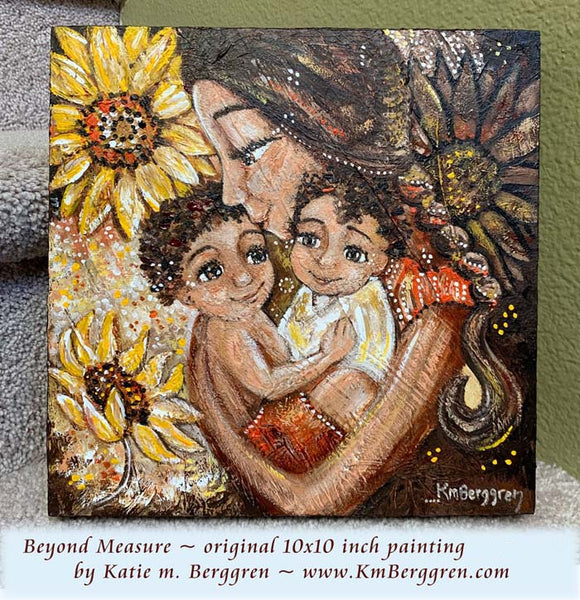 African American mother and children with big yellow sunflowers and braided hair original painting by KmBerggren