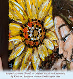 detail view of African American mother and children with big yellow sunflowers and braided hair original painting by KmBerggren