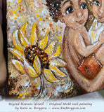 close up view of African American mother and children with big yellow sunflowers and braided hair original painting by KmBerggren