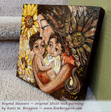 edge view of African American mother and children with big yellow sunflowers and braided hair original painting by KmBerggren