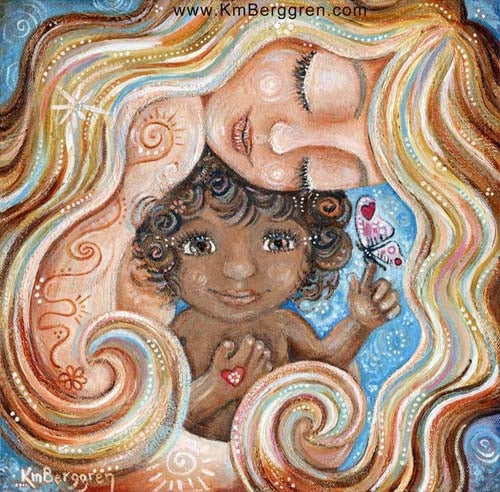 art image of blonde mother holding africal american child with curly hair and butterfly on finger