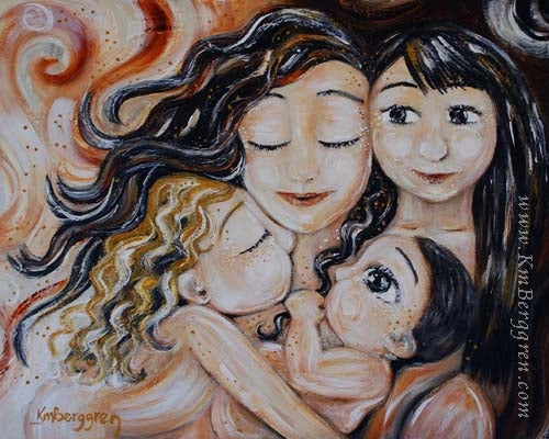 art print of brunette mother with brunette daughter, blonde daughter and baby boy