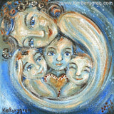 Blue art print of mother with three children smiling with blue eyes