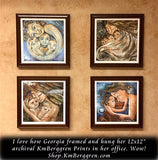 framed mom with three kids art print on wall
