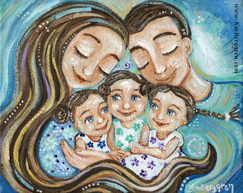 Bundled In Joy - Family of 5 Art Print