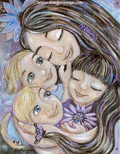 purple art print with flowers and a mother with three children - purple gerbera daisies