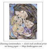 art print of mother and three children with purple flowers