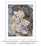 art print of mother and three children with flowers in purple