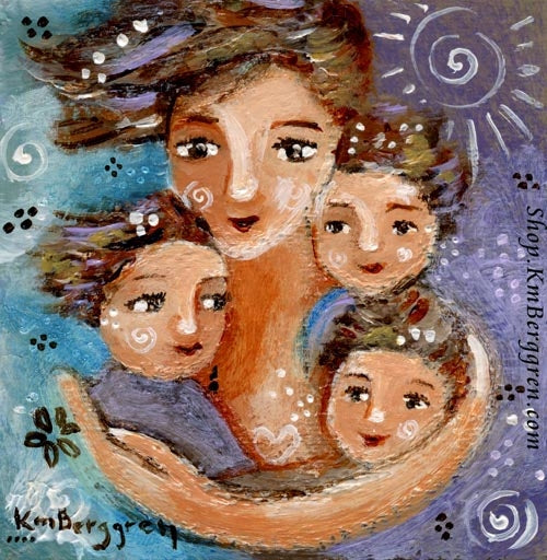 A purple and blue art painting of a mother with short brown hair and three brown haired children