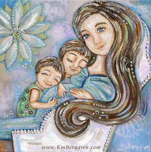 a purple and blue art painting of a pregnant mother witht wo children and a big blue flower
