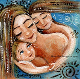 a blue art print of a blonde mother with two children, a daughter and a son, and a swirl sunshine