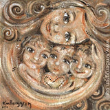 warm neutral toned art print showing mother with curly hair and three children with a heart
