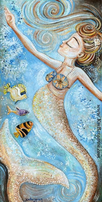 tall pregnant mermaid in blue dancing with fish art print by KmBerggren