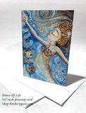 mermaid and fish art card, blank greeting card