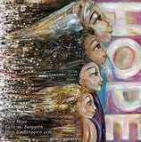 original painting on canvas of woman with Hijab standing with three girls facing the word HOPE in big letters - art by KmBerggren