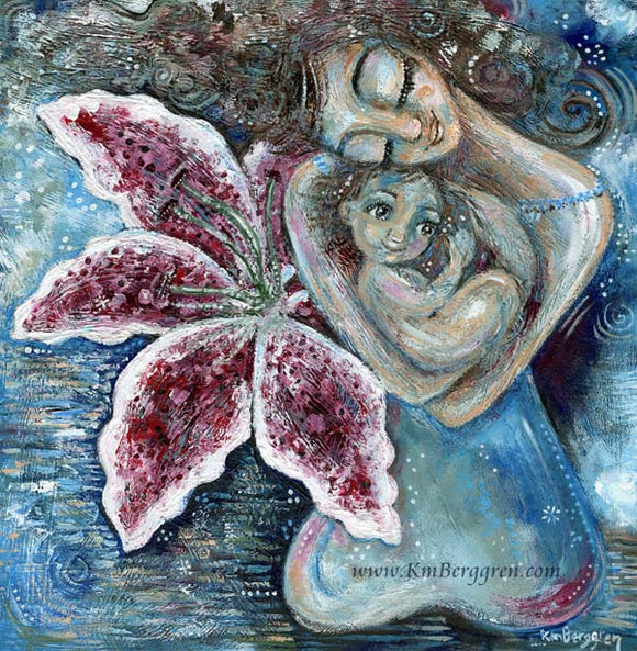 giant stargazer lily flower with mother and big eyed child in her arms, art by Katie m. Berggren