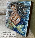 Deepest Breath - Original 10x10 Mermaid Mother and Wild Child Painting