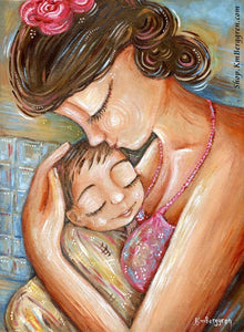 art print of mama kissing sleeping son wrapped in a yellow towel after a bath by KmBerggren