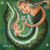 original painting on canvas of a green mermaid with long blonde hair and her blonde daughter with a sea star by KmBerggren