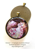 mother and daughter with roses glass art pendant necklace mothers gift 1.5 inches across handmade by the artist