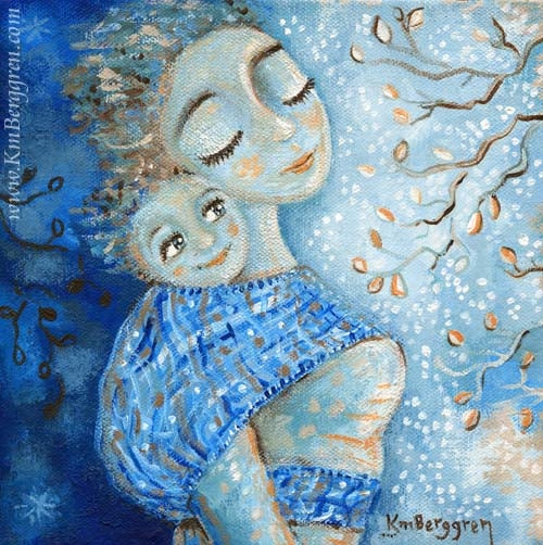 blue artwork showing a mother with her face to the sky, wearing a smiling baby on her back, tree branches with leaves in front of them
