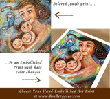 mother and three children art print, choose embellished prints for eye and hair color changes by KmBerggren