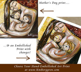 mother holding two daughters art print - embellish for hair and eye color changes