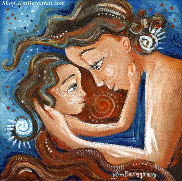 blue and red art print showing mother and daughter face to face beneath a red blanket, art by Katie m. Berggren