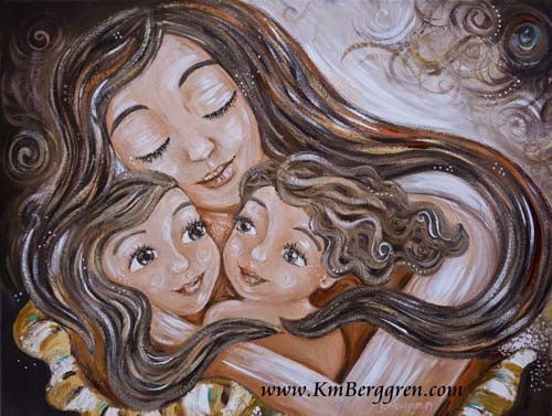 neutral toned KmBerggren art print of long brown haired mother with two brown haired daughters