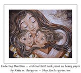 art print of brown haired mother and two brown haired daughters